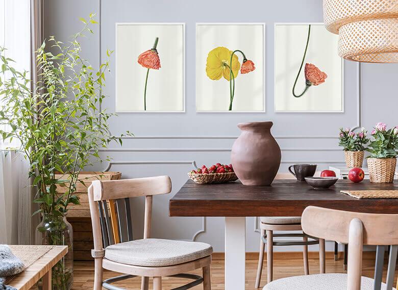 Assortiment affiches avec cadres - Fleurs de l'amour